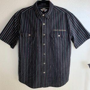 Harley Davidson Black Striped Short Sleeve Shirt